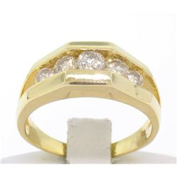 14k Solid Yellow Gold Ladies 0.60 ctw 5 Large Diamond Geometric Band Ring