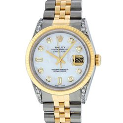 Rolex Mens 2 Tone MOP Diamond Lugs 36MM Datejust Wristwatch