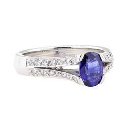 1.28 ctw Sapphire And Diamond Ring - 18KT White Gold