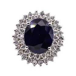 10.96 ctw Sapphire and Diamond Ring - 14KT White Gold