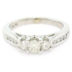 14k White Gold .55 ctw Round Brilliant Cut Diamond 3 Stone Promise Engagement Ri