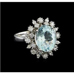 4.3 ctw Aquamarine and Diamond Ring - 14KT White Gold