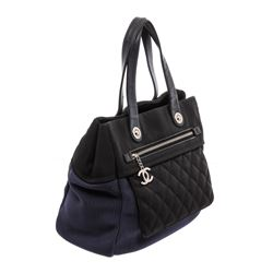 Chanel Black Blue Nylon Rue Cambon Large Shopping Tote Bag