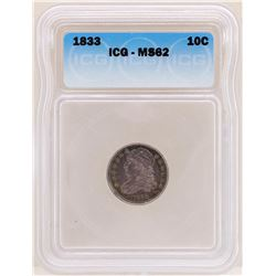 1833 Capped Bust Dime Coin ICG MS62