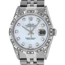Rolex Mens Stainless Steel Mother Of Pearl Diamond Lugs & Pyramid Bezel Datejust