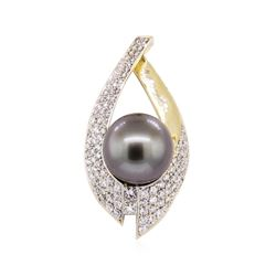 2.35 ctw Tahitian Pearl and Diamond Pendant - 14KT Yellow Gold
