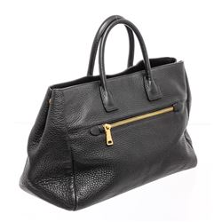 Prada Black Leather Large Tote Bag
