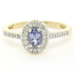 NEW Petite 14K Yellow Gold 0.50 ctw Oval Cut Tanzanite Ring w/ Round Diamond Hal