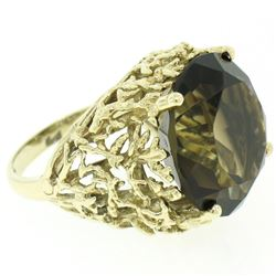 Estate 14kt Yellow Gold 14.13 ctw Smoky Topaz and Open Work Coral Reef Ring