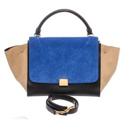 Celine Blue Beige Black Suede Leather Trapeze Two-Way Bag