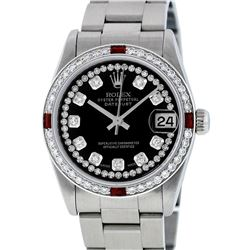 Rolex Womens Midsize 31mm Black String Diamond & Ruby Datejust Wristwatch