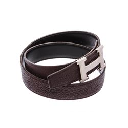 Hermes Black Chocolate Brown Taurillon Clemence Leather Reversible Belt Guilloch