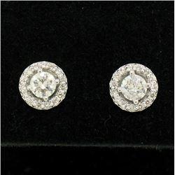 NEW 14k White Gold 1.06 ctw Round Brilliant Diamond Stud Earrings w/ Pave Halos