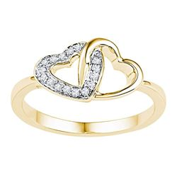 1/12 CTW Round Diamond Double Locked Heart Ring 10kt Yellow Gold - REF-13A2N