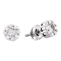 1/4 CTW Round Baguette Diamond Cluster Screwback Stud Earrings 14kt White Gold - REF-24H3W