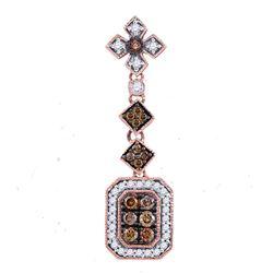 1/2 CTW Round Brown Diamond Fashion Pendant 14kt Rose Gold - REF-39F6M