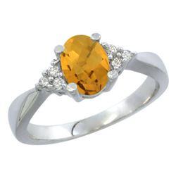 1.06 CTW Quartz & Diamond Ring 14K White Gold - REF-36H8M