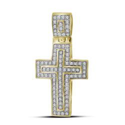 1/4 CTW Mens Round Diamond Cross Layered Charm Pendant 10kt Yellow Gold - REF-27T3K