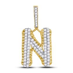 1 & 1/2 CTW Mens Round Diamond N Letter Charm Pendant 10kt Yellow Gold - REF-90T3K