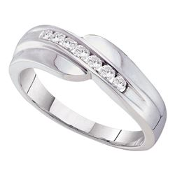1/4 CTW Mens Round Channel-set Diamond Curved Wedding Ring 14kt White Gold - REF-30W3F