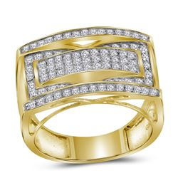 1 CTW Mens Round Pave-set Diamond Rectangle Cluster Ring 10kt Yellow Gold - REF-60N3Y