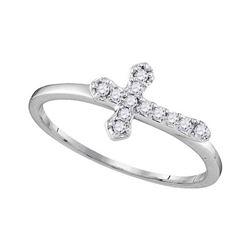 1/8 CTW Round Diamond Cross Faith Ring 10kt White Gold - REF-11W9F