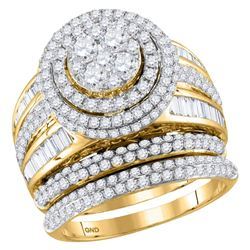 2 & 1/2 CTW Round Diamond Cluster Bridal Wedding Engagement Ring 14kt Yellow Gold - REF-201X6T