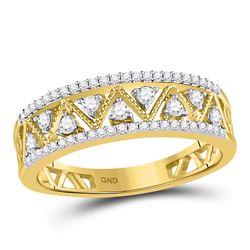 1/3 CTW Round Diamond Zigzag Ring 10kt Yellow Gold - REF-27X5T