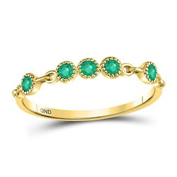 1/20 CTW Round Emerald Dot Stackable Ring 10kt Yellow Gold - REF-10W8F