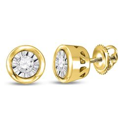 1/10 CTW Round Diamond Miracle Solitaire Earrings 10kt Yellow Gold - REF-11R9H