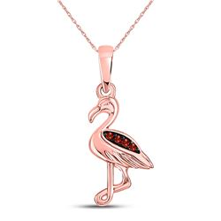 0.01 CTW Round Red Color Enhanced Diamond Flamingo Bird Animal Pendant 10kt Rose Gold - REF-4A8N