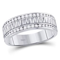 1/2 CTW Mens Round Diamond Double Row Zigzag Wedding Ring 14kt White Gold - REF-71A9N