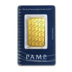 Genuine 1 oz 0.9999 Fine Gold Bar - PAMP Suisse
