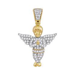 1/2 CTW Mens Round Diamond Guardian Angel Charm Pendant 10kt Yellow Gold - REF-26A3N