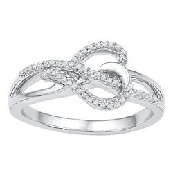 1/6 CTW Round Diamond Heart Infinity Ring 10kt White Gold - REF-16M8A