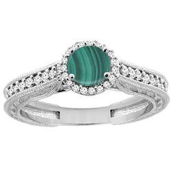 2.42 CTW Malachite & Diamond Ring 14K White Gold - REF-56M6K