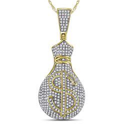 1 CTW Mens Round Diamond Money Bag Dollar Sign Charm Pendant 10kt Yellow Gold - REF-65N9Y