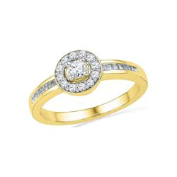 1/3 CTW Round Diamond Solitaire Bridal Wedding Engagement Ring 10kt Yellow Gold - REF-26R3H
