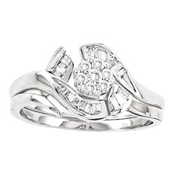 1/3 CTW Round Diamond Cluster Bridal Wedding Engagement Ring 14kt White Gold - REF-39N6Y