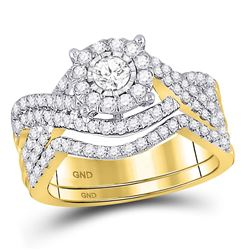1 CTW Round Diamond Contoured Bridal Wedding Engagement Ring 10kt Yellow Gold - REF-93Y3X