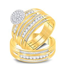 5/8 CTW His & Hers Round Diamond Halo Matching Bridal Wedding Ring 10kt Yellow Gold - REF-57X3T