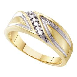 1/10 CTW Mens Round Diamond Wedding Diagonal Ring 10kt Yellow Gold - REF-18N3Y