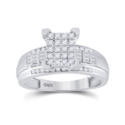 1/2 CTW Round Diamond Cluster Bridal Wedding Engagement Ring 10kt White Gold - REF-37X8T