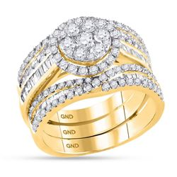 2 CTW Round Diamond Cluster Bridal Wedding Engagement Ring 14kt Yellow Gold - REF-143A9N