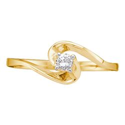1/10 CTW Round Diamond Round Swirl Promise Bridal Ring 10kt Yellow Gold - REF-9X6T