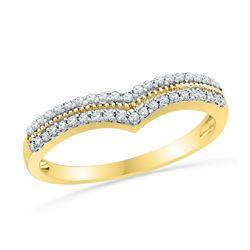 1/4 CTW Round Diamond Chevron Ring 10kt Yellow Gold - REF-20F3M