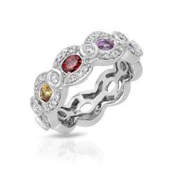 1.68 CTW Multi-Color Sapphire & Diamond Ring 14K White Gold - REF-61K2W