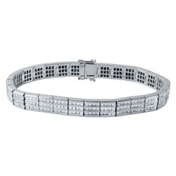 7.58 CTW Princess Diamond Bracelet 14K White Gold - REF-804H2M