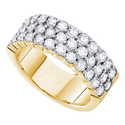 2 CTW Round Diamond 3-row Wedding Anniversary Ring 14kt Yellow Gold - REF-167N9Y