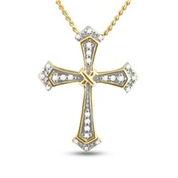 1/10 CTW Round Diamond Flared Cross Pendant 10kt Yellow Gold - REF-8K4R